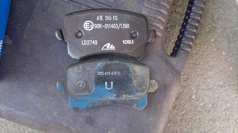 Passat B6/CC Замена задних и передних колодок на VW Passat В6, ATE Ceramic.